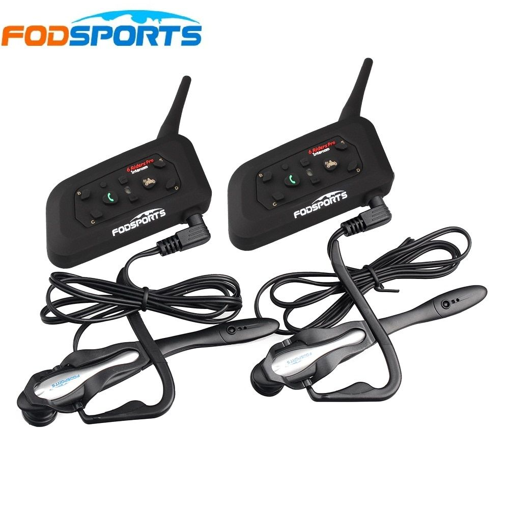 2 pcs V6 Pro BT Interphone Wireless Bluetooth Headset Intercom Suit for Football Referee Judge Bicycle Conference Stereo music