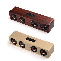 Wooden Wireless Bluetooth Speaker HiFi Stereo Subwoofer Bluetooth Bookshelf Speakers Wood 4 Loudspeaker Handsfree TF Card AUX
