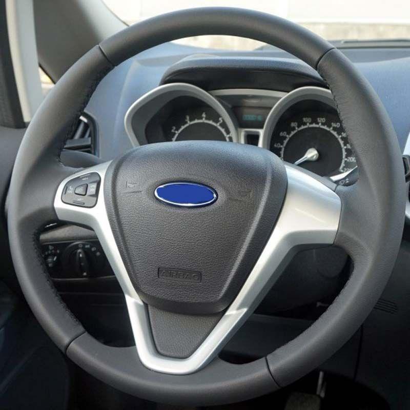 Couverture de volant de voiture en cuir véritable noir pour Ford Fiesta 2008-2014 Ecosport 2013 2017 bâches de voiture pour volant