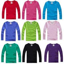 Anak Laki-laki Lengan Panjang T Kemeja untuk Anak-anak 2019 Musim Gugur Warna Murni T-shirt Katun 1-15 T Anak-anak Pakaian Bayi anak Perempuan Tops Tees Pakaian