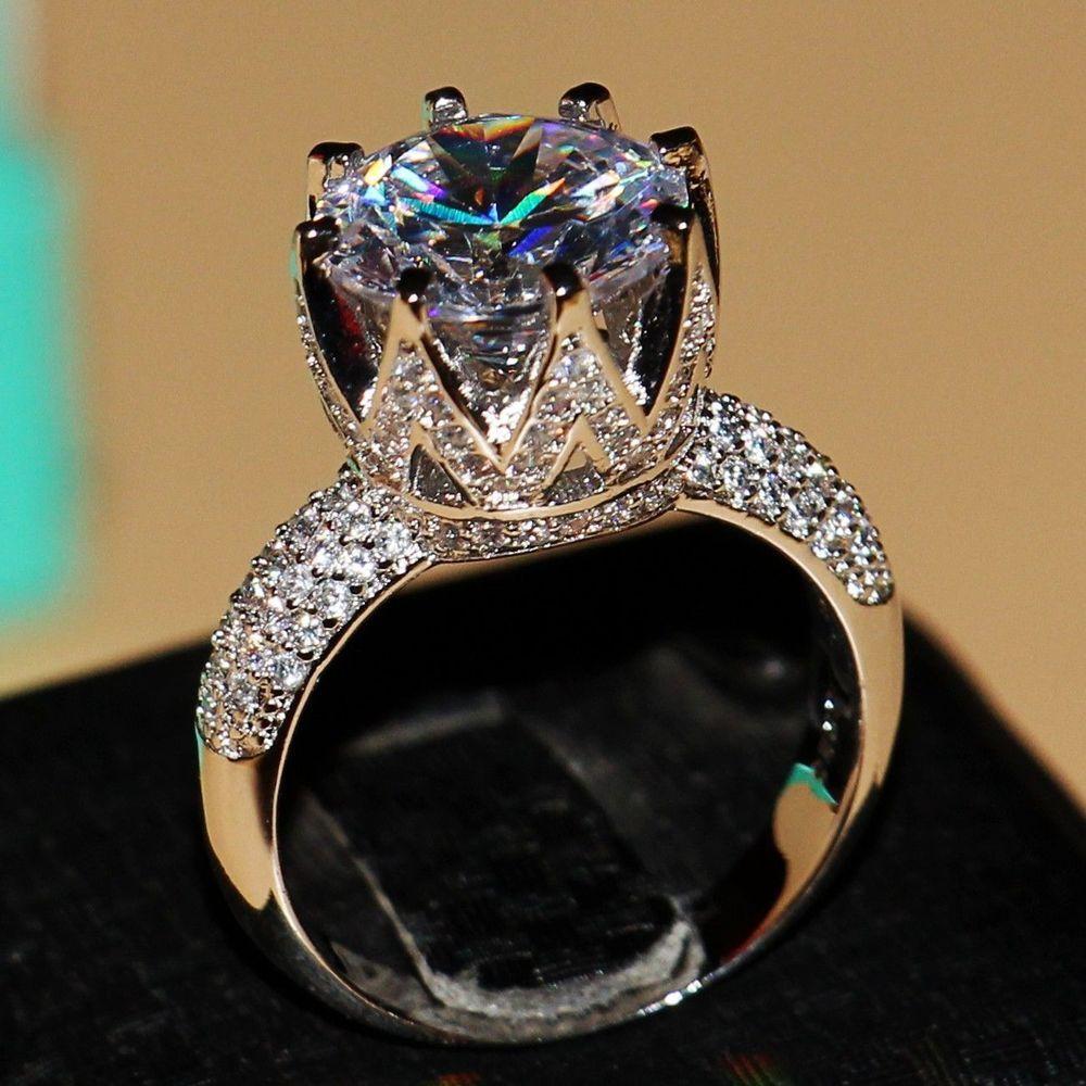 Mode Bijoux 8ct Solitaire De Luxe 925 Argent Grand Blanc 5A CZ Simulé pierres De Mariage Femmes Bande Couronne Anneau cadeau Taille 5-11