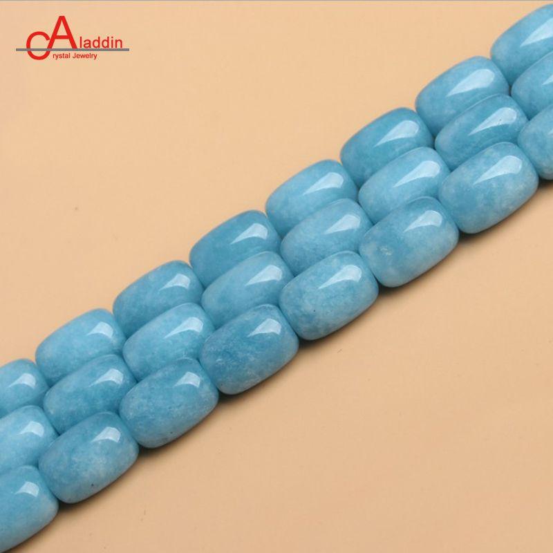 Aladdin aquamarin Ovale Forme perles Océan bleu pierre Quartz Un chaîne de 38 cm diy Hommes et femmes de Mode Bijoux & accessoires