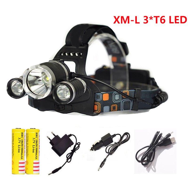 Светодиодные фары 4 режима 3T6 фар 12000 люмен XML T6 LED Водонепроницаемый головной свет лампы 18650 Перезаряжаемые Батарея фонарик факел