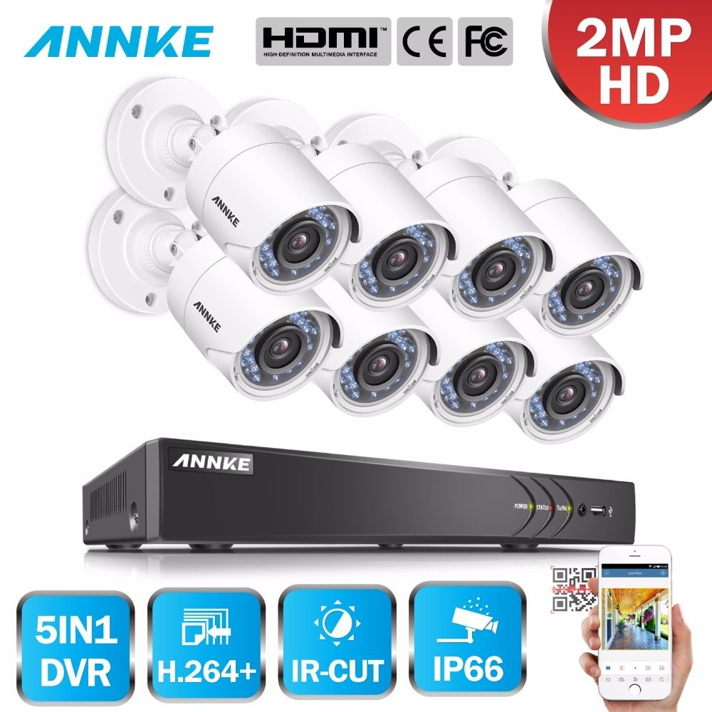 ANNKE HD 8CH 1080P 2.0MP Security Cameras System 8*1080P Outdoor Night Vision CCTV Home Security System Surveillance Kit