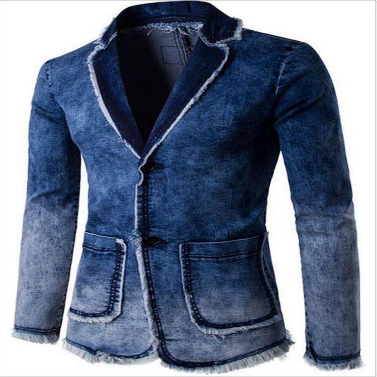Men's Cowboy Washing Coat 2017 New Men's Spring & Autumn Fashion Casual Jacket High Quality Suit Beach Slimming Cream M-2XL