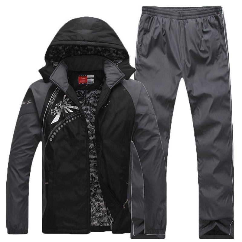 Keep Warm Sport Suit Men Fleece Lining Zipper Pocket Mens Sportswear Set Thermal Winter Outdoor Workout Running Jogging Suits