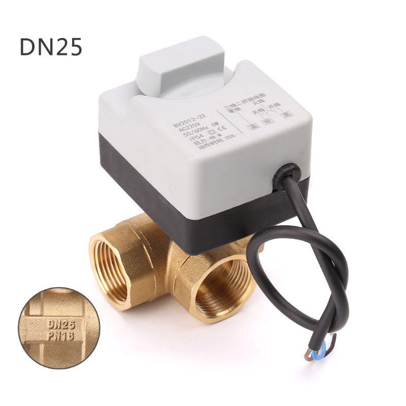 AC220V vanne à boisseau sphérique motorisée électrique 3 voies trois fils deux commandes pour la climatisation