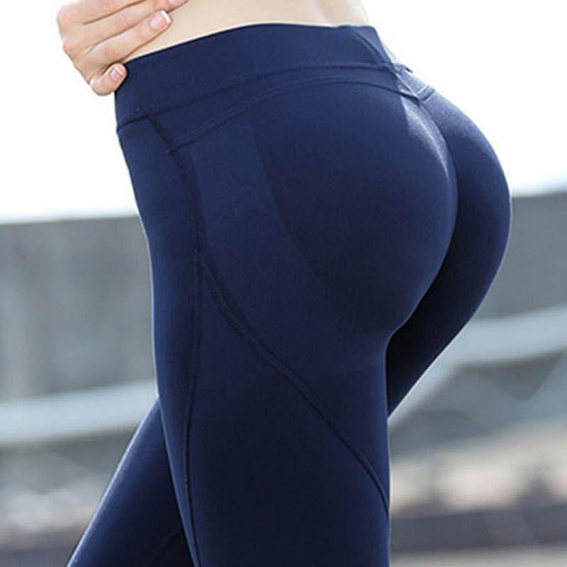 2018 Eshtanga women Tight Sports sexy hips push up leggings Yoga pant High Solid Skinny Stretch Leggings Size XS-XL