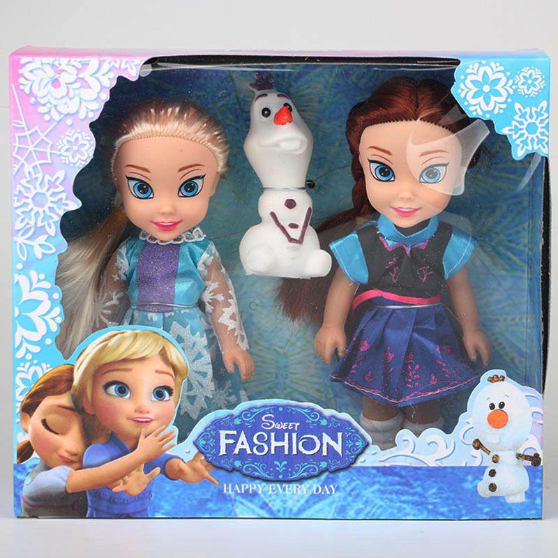 2017 2 pcs Princesse Anna Elsa Poupées Pour Les Filles Toys Princesse Anna Elsa Poupées Pour Les Filles Toys 16 cm Petit En Plastique Bébé Poupées Congelad