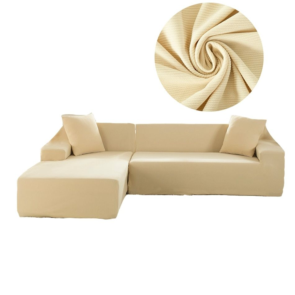 Beige Knitted Sectional Sofa Slipcovers For Living Room Universal Stretch Couch Sofa Slipcovers Elastic L Shape Sofa Covers