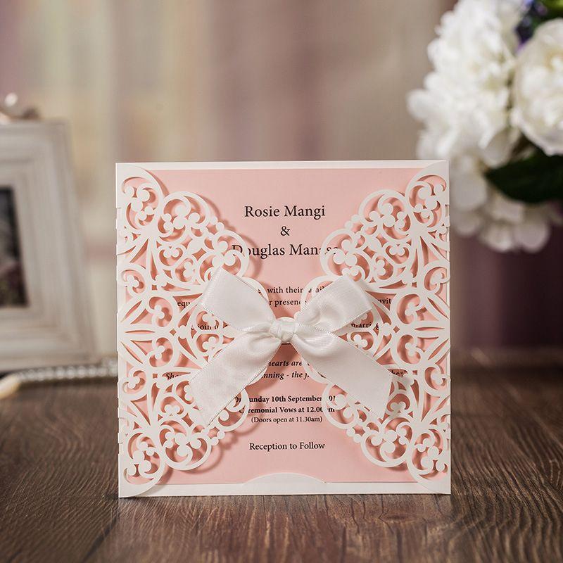 50 pcs Blanc Laser Cut Invitations De Mariage De Luxe Carte Arc Élégant Conçu Faveur Rose Intérieure Cartes De Mariage Event & Party fournitures