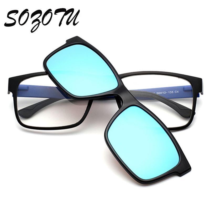 TR90 Optique Lunettes Cadre Hommes Femmes Clip Sur Aimants Polarisées lunettes de Soleil Myopie Lunettes Monture de lunettes Pour Hommes YQ189