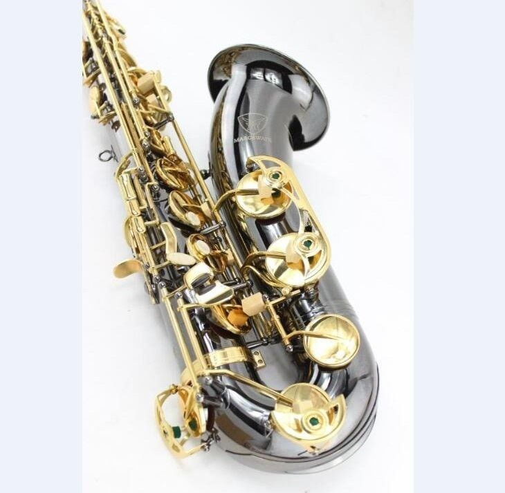 MARGEWATE Tenor B Flat Saxophone Bb sax Black Nickel Professional Performance with Case Gloves and A Series of