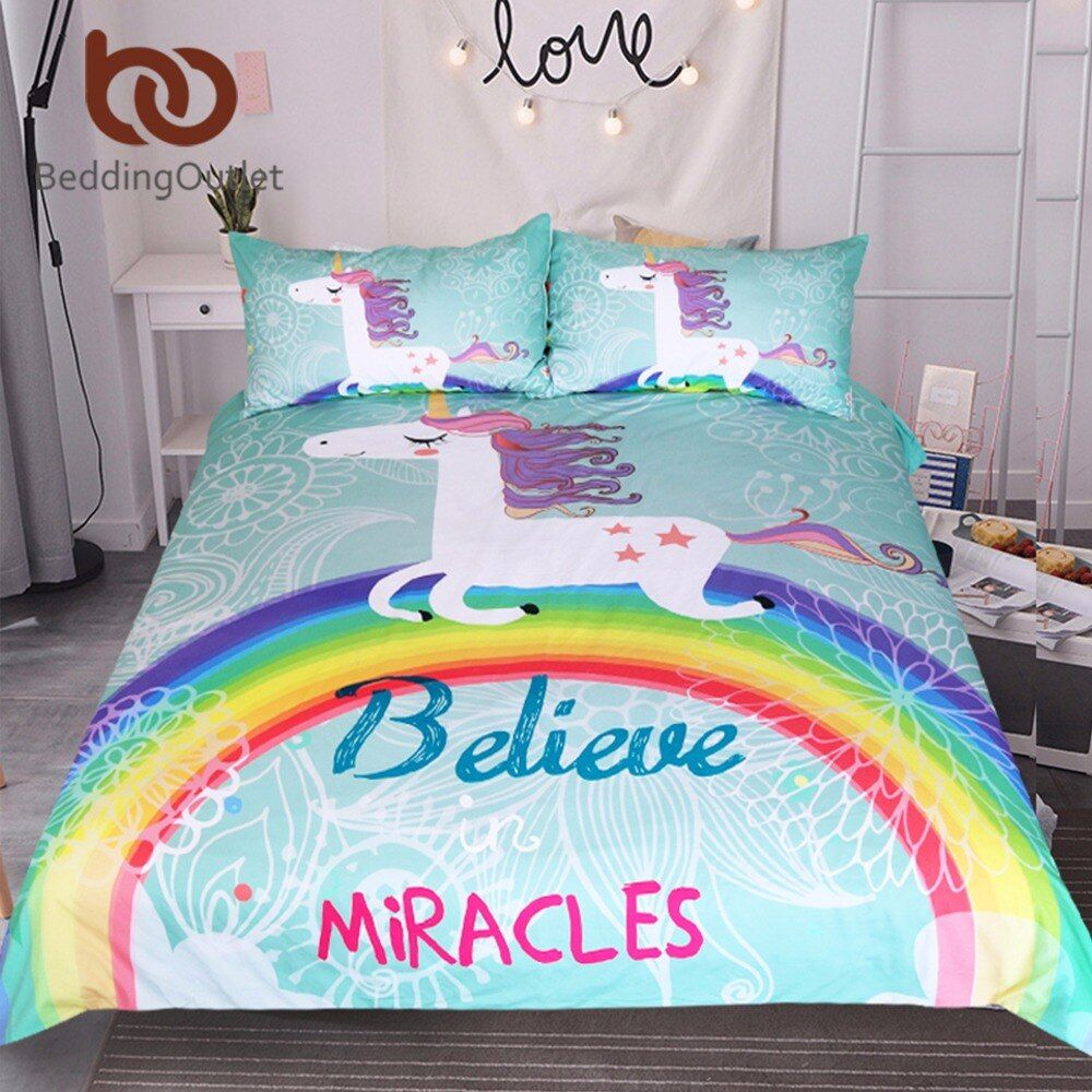 BeddingOutlet Unicorn Bedding Set Believe Miracles Cartoon Single Bed Duvet Cover Animal for Kids Girls 3pcs Rainbow Bedspreads