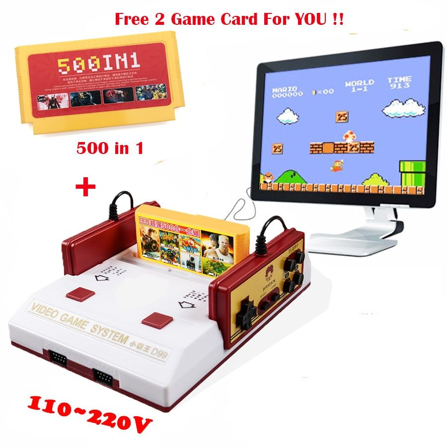 Hot Sale Video Game Console PAL Format Classical 8Bit Family TV Video Game Consoles Player With 500 In 1 Game Card Free Shipping