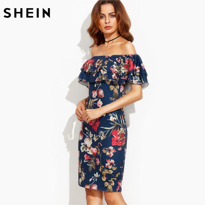 Шеин летнее платье 2017 одежда Для женщин короткий рукав многоцветный Цветочный принт Off The Shoulder Ruffle Sheath Dress