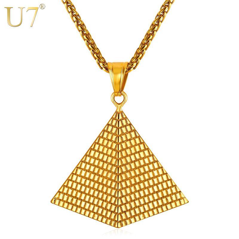 U7 collier pendentif pyramide égyptienne couleur or 316L chaîne en acier inoxydable femmes/hommes bijoux egypte nouveauté chaude P1005