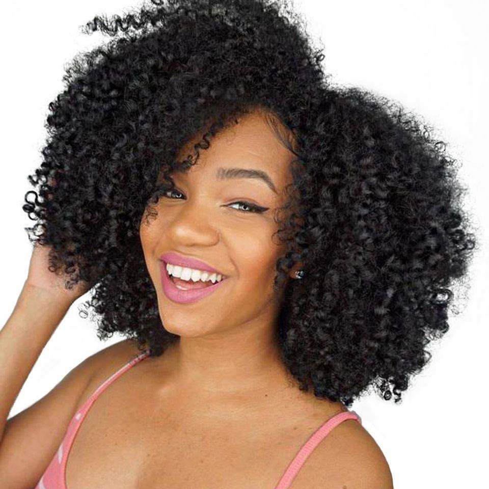 Mongol Cheveux Afro Crépus Bouclés Extension de Cheveux de Cheveux Humains Bundles Weave 1 pièce Peut Acheter 3/4 Bundles Beauté Lueen Non remy Cheveux