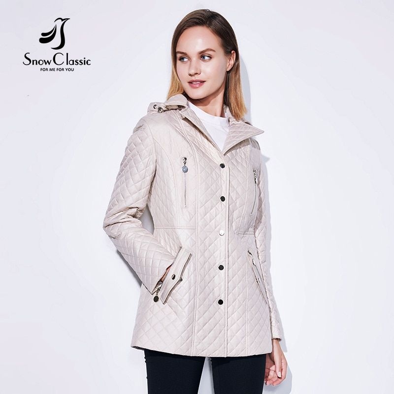 SnowClassic 2018 Spring / Summer Fashion Jacket Ladies Coat Windbreaker European Design Zip Pockets Lapel Rosette