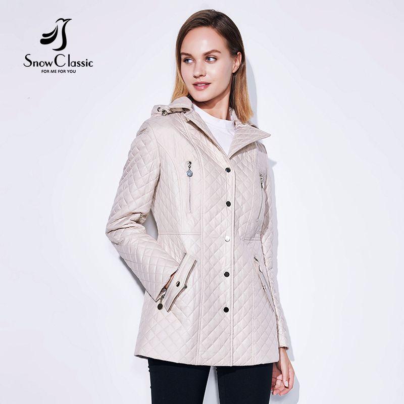 SnowClassic 2018 Spring / Summer Fashion Jacket Ladies Coat Windbreaker European Design Zip Pockets Lapel Rosette