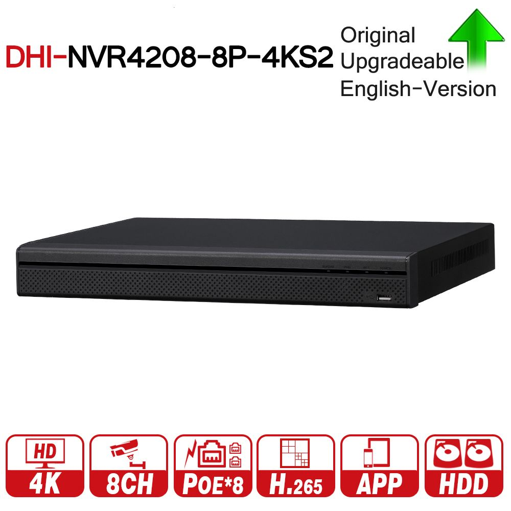 DH NVR4208-8P-4KS2 8 Channel 1U 8PoE 4K&H.265 Lite Network Video Recorder 4K Resolution For IP Camera Security CCTV System