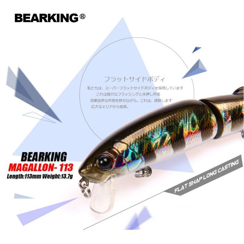 Einzelhandel Bearking 2017 heißer modell angeln lockt harten köder 113mm 13,7g minnow ausgestattet qualität professionelle schwarz oder weiß haken