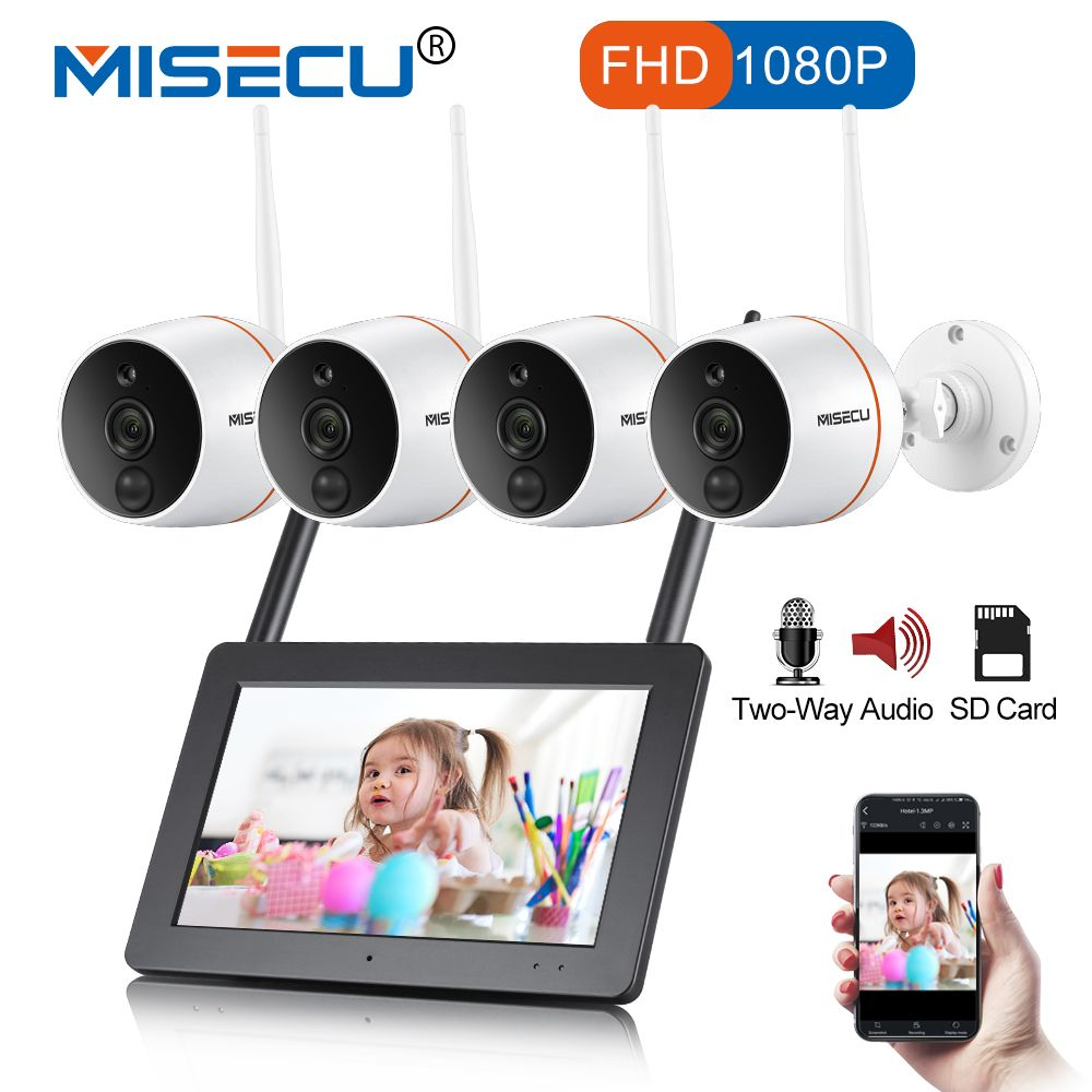 MISECU Touch Screen NVR Security Camera WIFI CCTV System 1080P Outdoor Waterproof Wireless IP Camera PIR SD Card Audio Record