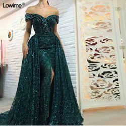 Sexy Lange Split Grün Mermaid Formale Abendkleider Prom Party Kleid Dubai Türkisch Arabisch Abendkleider Kleider Abendkleider 2018