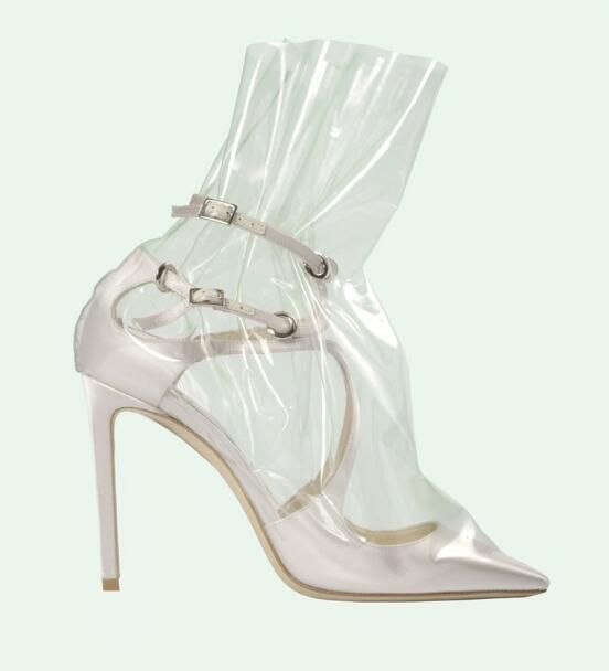 Drop Shipping New Women Fashion Light Blue/Black/Pink Pointed Toe Cross Strap PVC Transparent 100 mm X off-White Satin Pumps