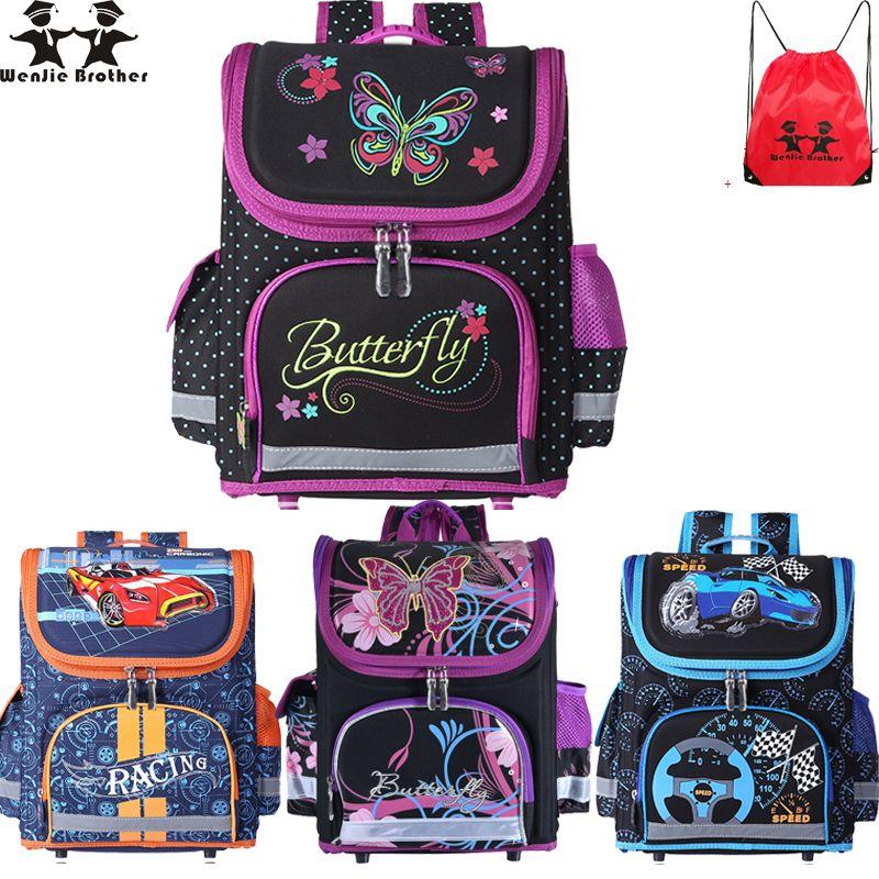wenjie brother Kids butterfly Schoolbag Backpack EVA Folded Orthopedic Children School Bags For Boys and girls Mochila Infantil