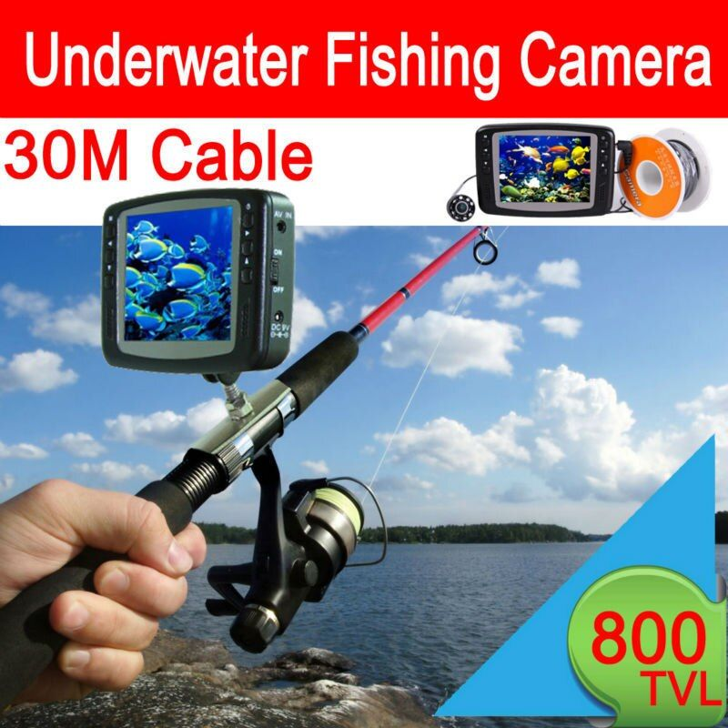 30 meter Cable underwater camera for fishing Waterproof video Surveillance Monitoring System 3.5'' Color LCD Monitor 8 LED Light