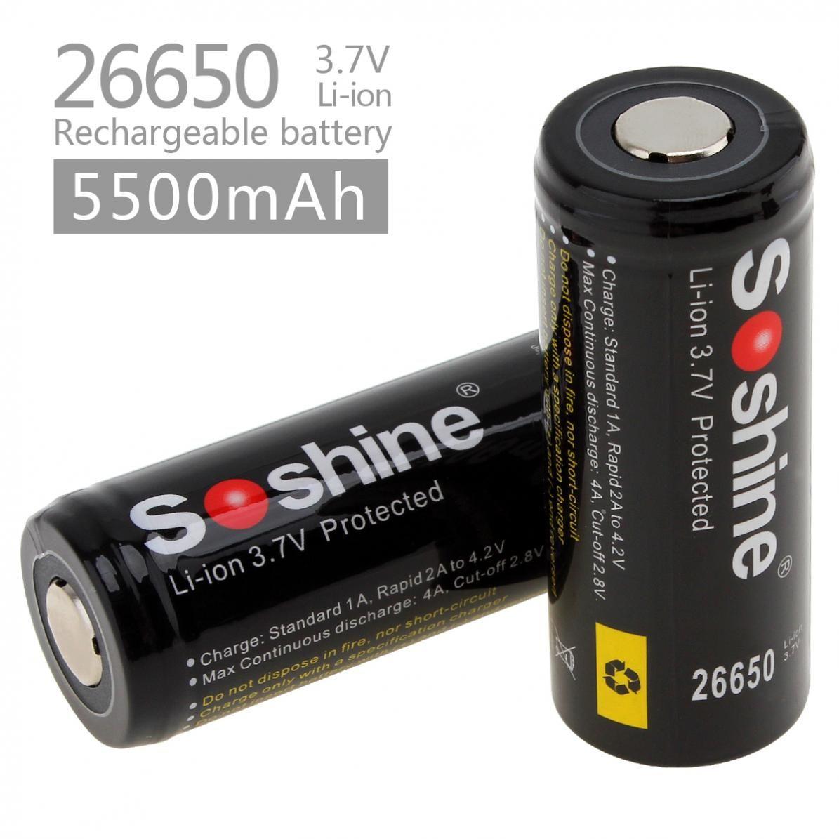 2 pcs/ensemble Soshine 26650 3.7 v 5500 mah Li-ion Batterie Rechargeable avec PCB Protégé pour lampe de Poche/Outils Électriques/ jouets