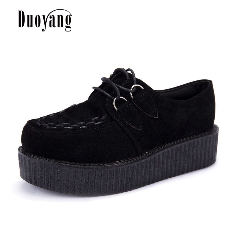 Creepers shoes plus size 35-41 women Shoes plus size ladies platform shoes 2018 Women Flats Female shoes laces