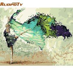 Ruopoty рамка DIY картина по номерам абстракция танцор Рисунок Живопись акриловая ручная роспись для домашнего декора 40x50 Настенная картина