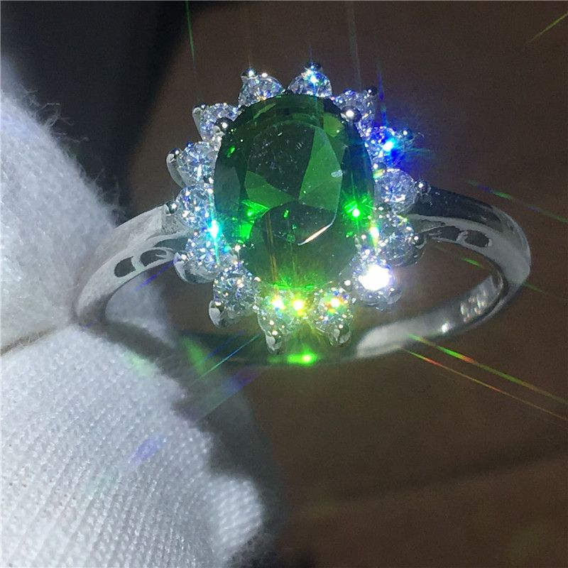 Princess Diana 100% Real 925 Sterling silver ring 2ct Green AAAAA Zircon Engagement wedding band rings for women Bridal jewelry
