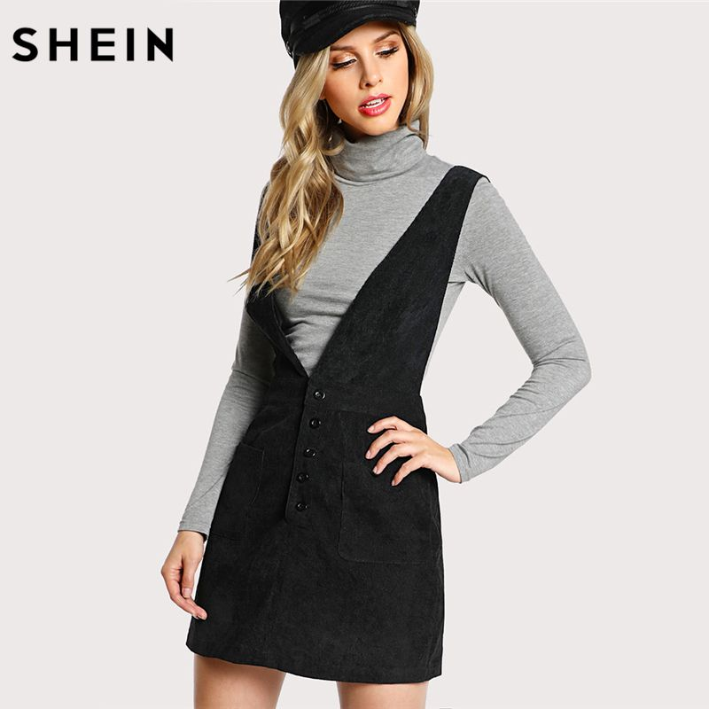 SHEIN Women Dress Black Sleeveless Crisscross <font><b>Buttoned</b></font> Plunge Pinafore Dress Pocket Straps Sheath Womens Dresses