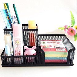 Mesh Desk Organizer Office Supplies Caddy Combination Pen Holder Card Case Organizer Storage Box Black