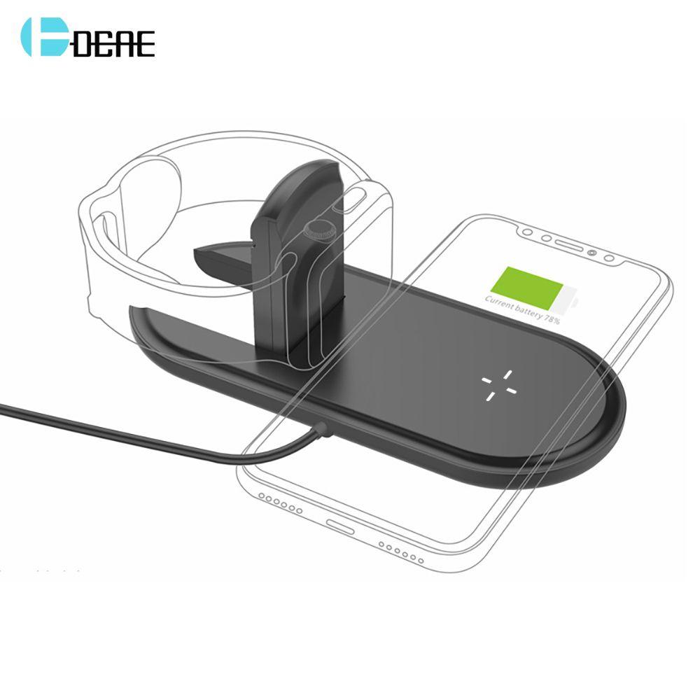DCAE 2 dans 1 Rapide De Charge Qi Sans Fil Chargeur Pour Apple Montre 1 2 3 iwatch Pad pour iPhone XS MAX XR X 8 Plus Samsung S8 S9 S7