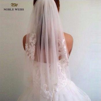NOBLE WEISS En Stock Court Une Couche longueur taille perlée Diamant appliqued blanc ou ivoire voile de mariage voiles de mariée