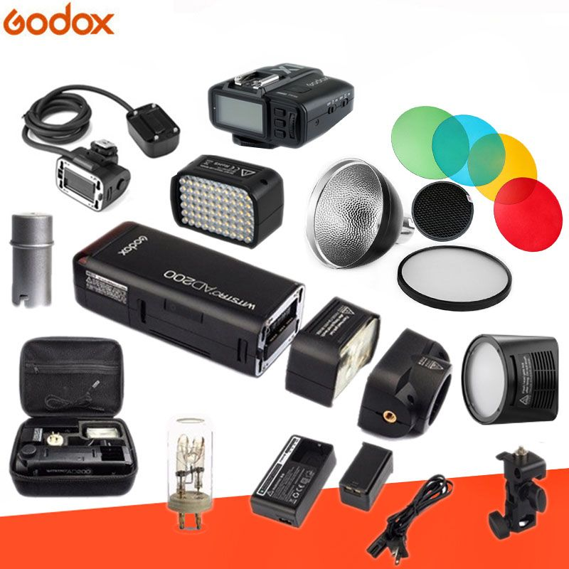 Godox AD200 Kit 200Ws 2.4G TTL Pocket Flash Strobe 1/8000 HSS Cordless Monolight 2900mAh Lithimu Battery and Bare Bulb/Speedlite