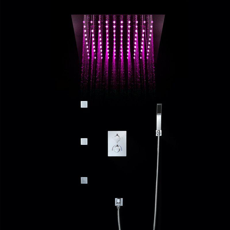 Decke Montiert 64 Farbe LED Regen Dusche Köpfe 4 Funktionen Gebürstet Dusche Armaturen Set Wasser Power Licht Bad Regen Dusche
