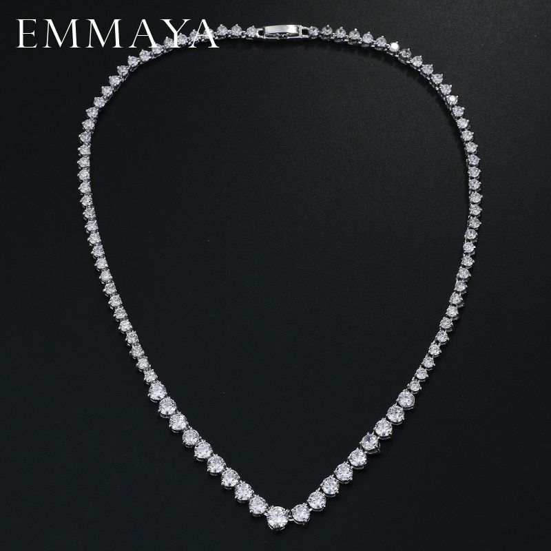 EMMAYA AAA Zircons Stunning Round CZ Crystal Necklaces and Luxury Bridal Party Jewelry For Wedding