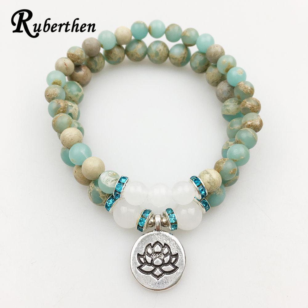 Ruberthen 2017 Hot Sale Lotus Bracelet Set <font><b>Aqua</b></font> Terra Stone Bracelet High Quality Yoga Jewelry for Women Free Shipping