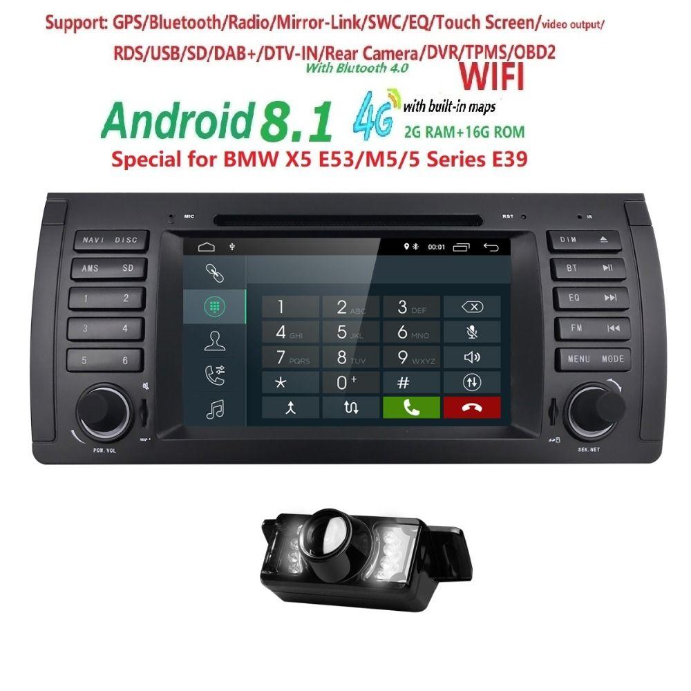 2din auto radio dvd gps android 8.1 1024*600 Quad core Für BMW E39 E53 M5 (1996-2007) mit Bluetooth Phonelink BT 1080 P DAB + Karten