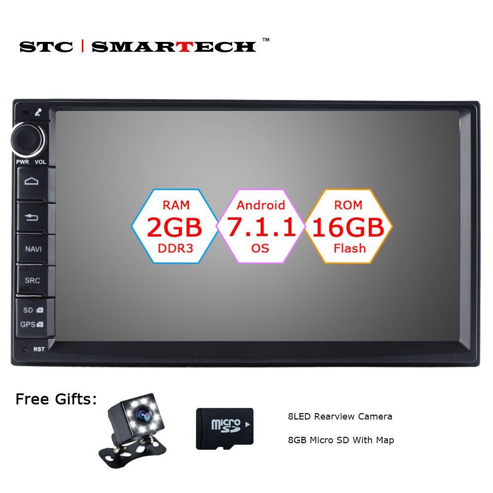 SMARTECH 2 Din Android 7.1 Car Radio GPS Navigation Autoradio System Quad Core 2GB RAM 16GB ROM Support Video Output DVR OBD DAB