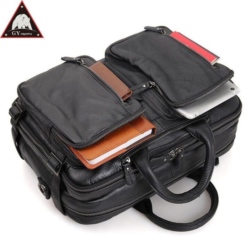 ANAPH Carry On Luggage Cow Leather Laptop Travel Bag For Men Multi-Function Overnight Weekender Duffle Large Capacity Tote Black