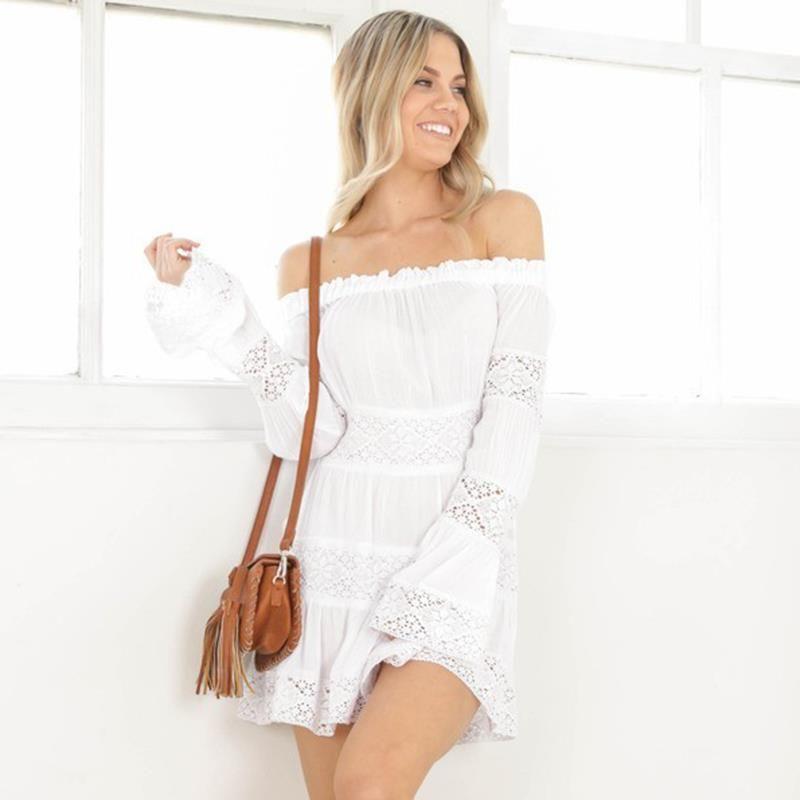 Для женщин Летнее белое платье пикантные с открытыми плечами Платья для вечеринок Кружево платье В лоскутном стиле с длинным рукавом Мини П...