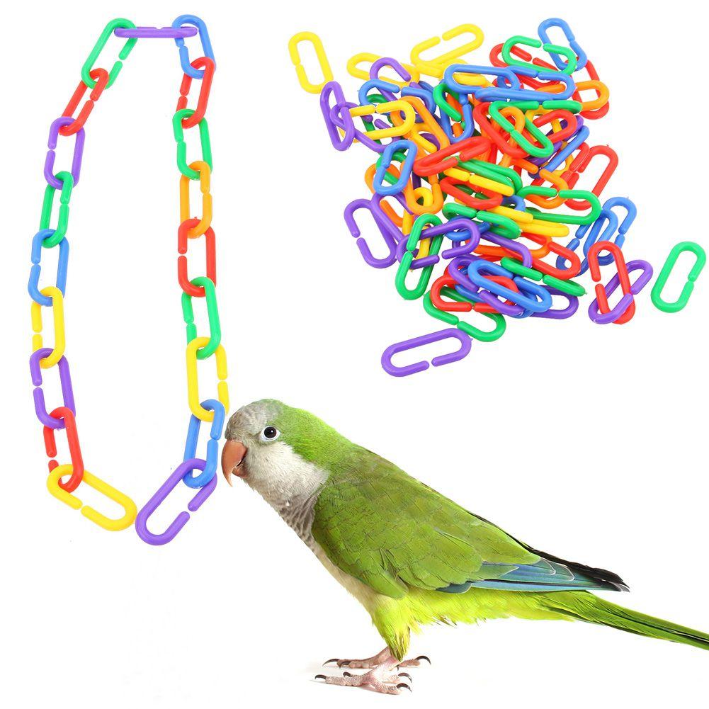 100 Pcs/lot Kunststoff Papagei Spielzeug C-clips Haken Kette C-links Zucker Segelflugzeug Ratte Parrot Vogel spielzeug Teile Sittich Vogel Zubehör