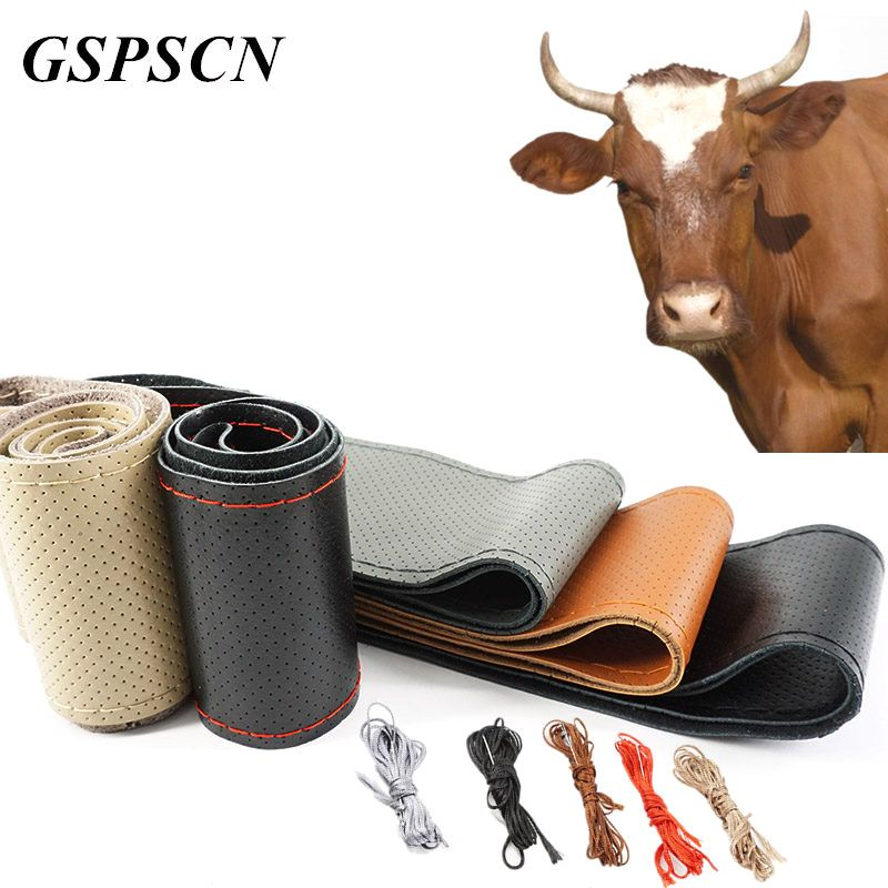 GSPSCN DIY Genuine Leather Car Steering Wheel Cover Soft Anti slip 100% Cowhide Braid With Needles Thread 36 38 40 cm Size
