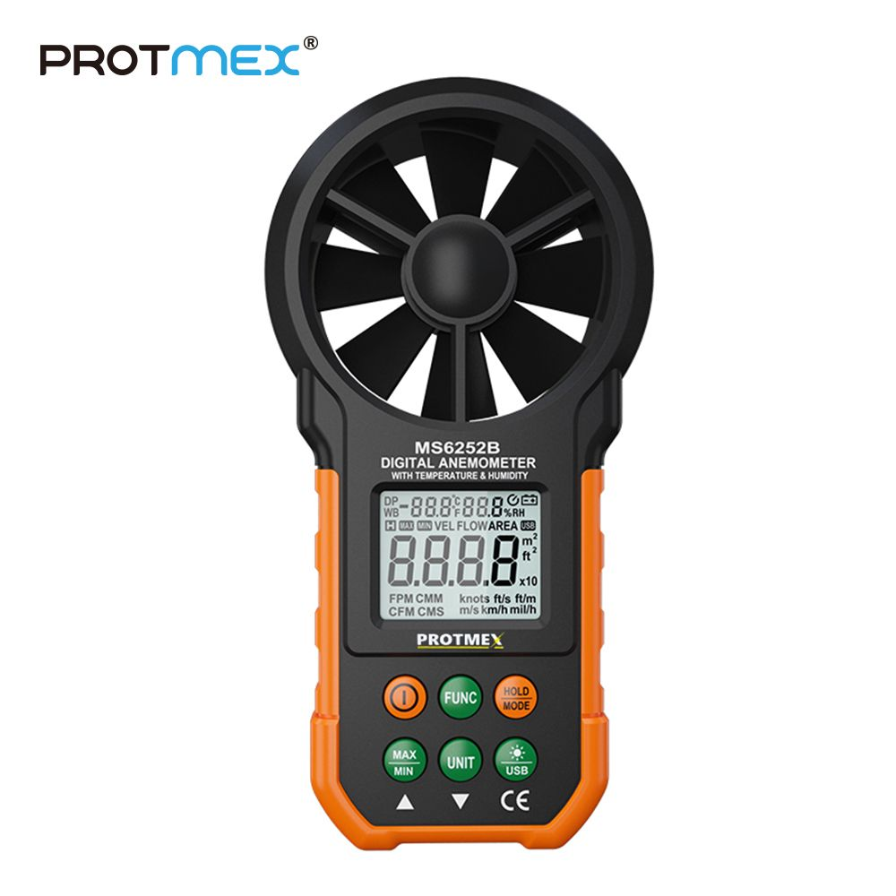 PT6252B Professional Wind Speed Test Meter Multifunction Digital Anemometer With Tachometer Air Volume Thermometer Humidity